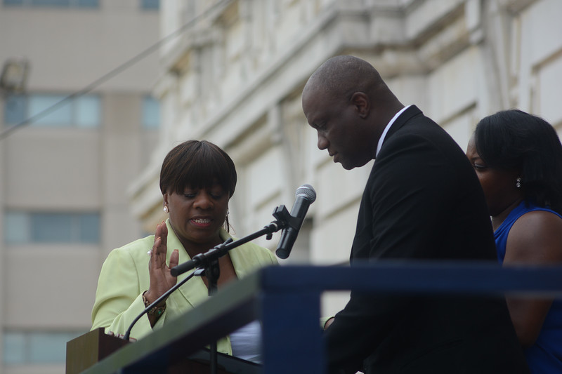 Trenton City Council President Kathy McBride is sworn in Sunday at City Hall. <br /> John Berry -- The Trentonian