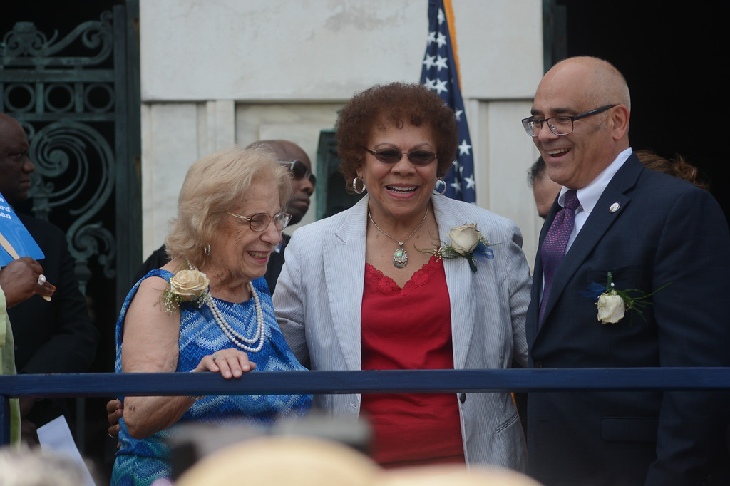 . Trenton\'s new Mayor Reed Gusciora, right with State Senator Shirley Turner, middle, and Gusciora\'s mother, left.  John Berry -- The Trentonian