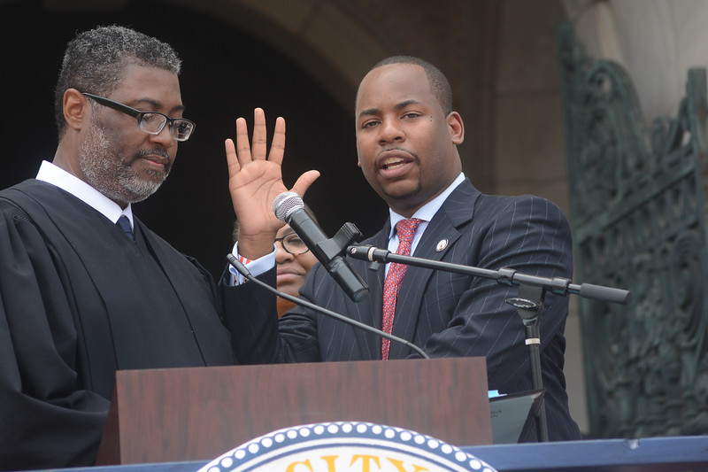 Trenton Council Member Jerell Blakely is sworn in Sunday. <br /> John Berry -- The Trentonian
