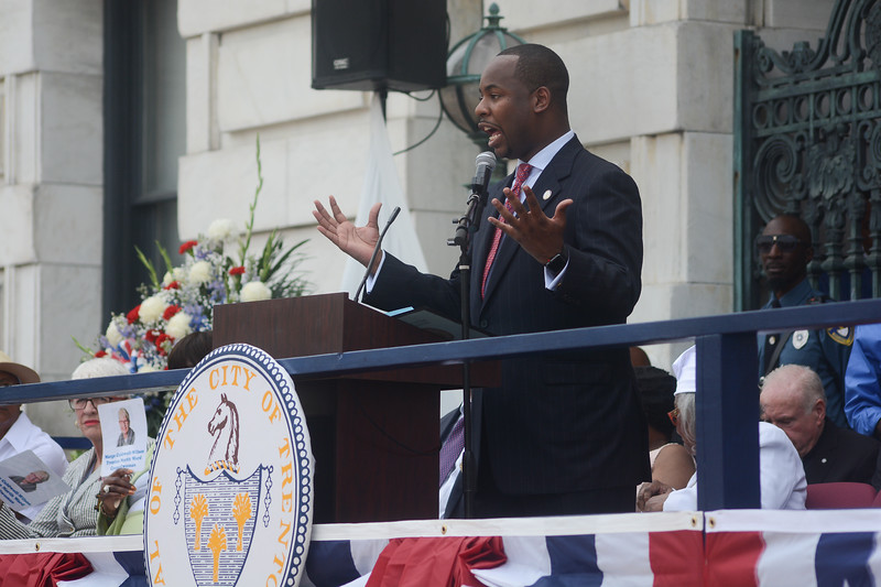 Trenton Council Member Jerell Blakely speaks to the crowd Sunday. <br /> John Berry -- The Trentonian