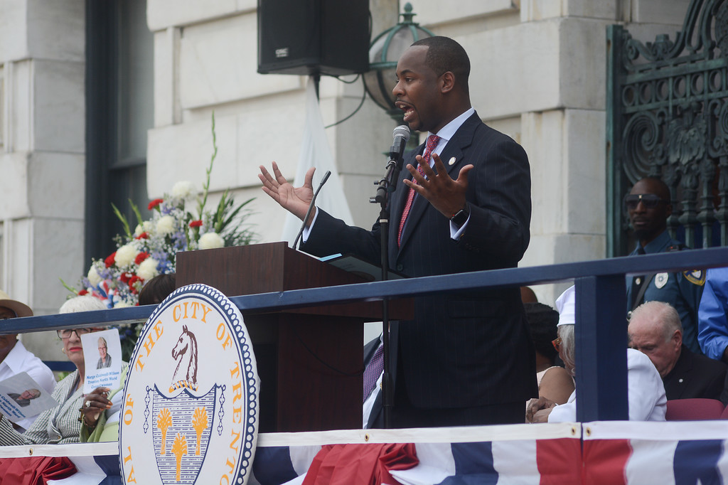 . Trenton Council Member Jerell Blakely speaks to the crowd Sunday.  John Berry -- The Trentonian