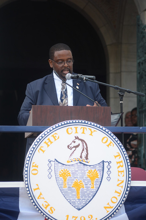 . Trenton City Clerk Dwayne Harris at Sunday\'s inauguration ceremony.  John Berry -- The Trentonian