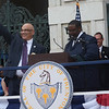 Trenton Mayor Reed Gusciora is given the city seal by City Clerk Dwayne Harris. <br /> John Berry -- The Trentonian
