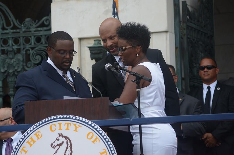 Trenton Council Member Robin Vaughn is sworn in Sunday. <br /> John Berry -- The Trentonian
