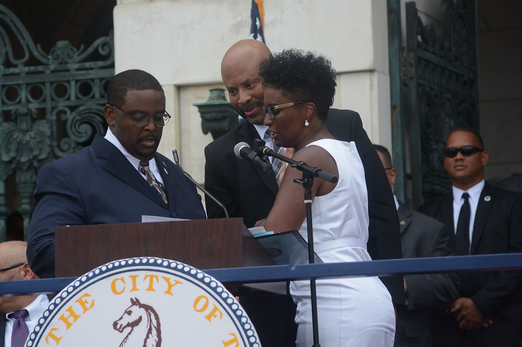 . Trenton Council Member Robin Vaughn is sworn in Sunday.  John Berry -- The Trentonian
