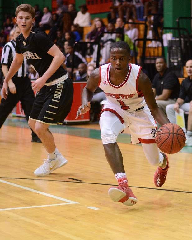 . Trenton�s Nasior McMillan during Friday night�s game against Hopewell. 