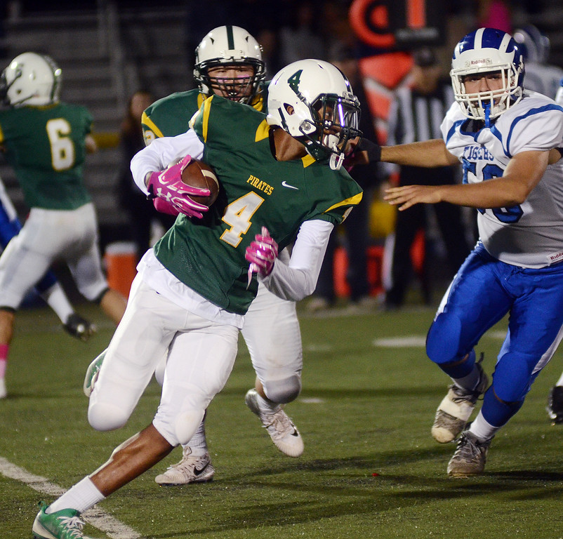 . West Windsor-Plainsboro South`s Anthony Taylor(4) on the run against Princeton. gregg slaboda photo