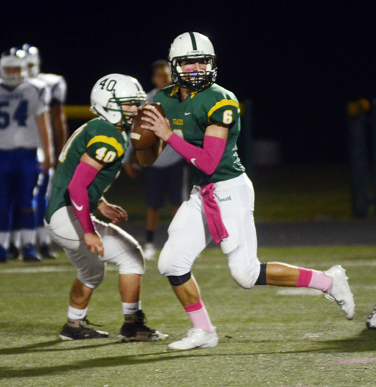 . West Windsor-Plainsboro South QB Max Bruno looks for a reciever against Princeton. gregg slaboda photo
