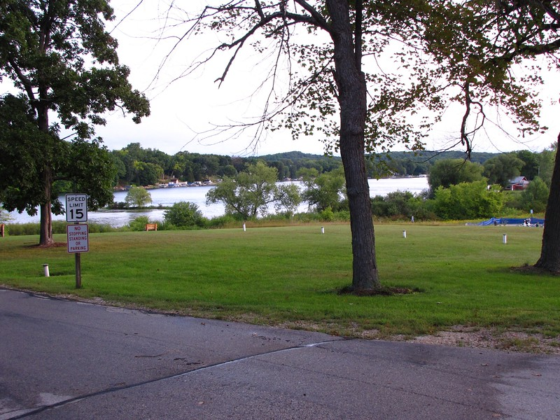 Ackerman's Grove overlooking Little Cedar Lake.  Swim takes place in Little Cedar Lake and the transition area is off to the right.