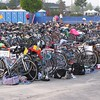 Bikes and gear in the transition area at the RecPlex in Pleasant Prairie, WI