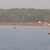 View across Lake Andrea to the swim start staging area