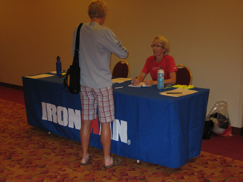 Webmaster Mary at Athlete check-in