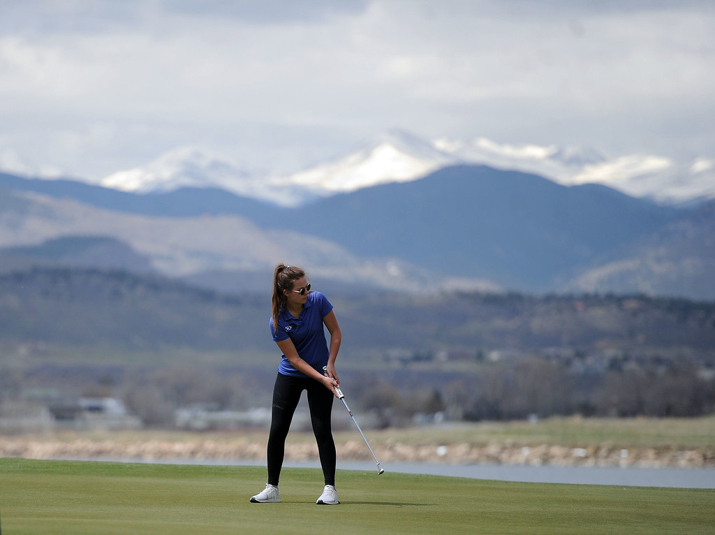 . Resurrection Christian\'s Morgan Sailor watches her put at TPC Colorado during the Tri-Valley League Meet on Monday, April 15, 2019. (Colin Barnard/Loveland Reporter-Herald)