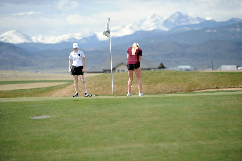 Berthoud's Stephanie Haberkon makes a put in front of the Twin Peaks at TPC Colorado on April 15, 2019. (Colin Barnard/Loveland Reporter-Herald)