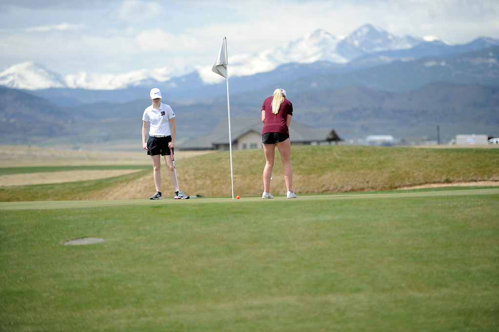. Berthoud\'s Stephanie Haberkon makes a put in front of the Twin Peaks at TPC Colorado on April 15, 2019. (Colin Barnard/Loveland Reporter-Herald)