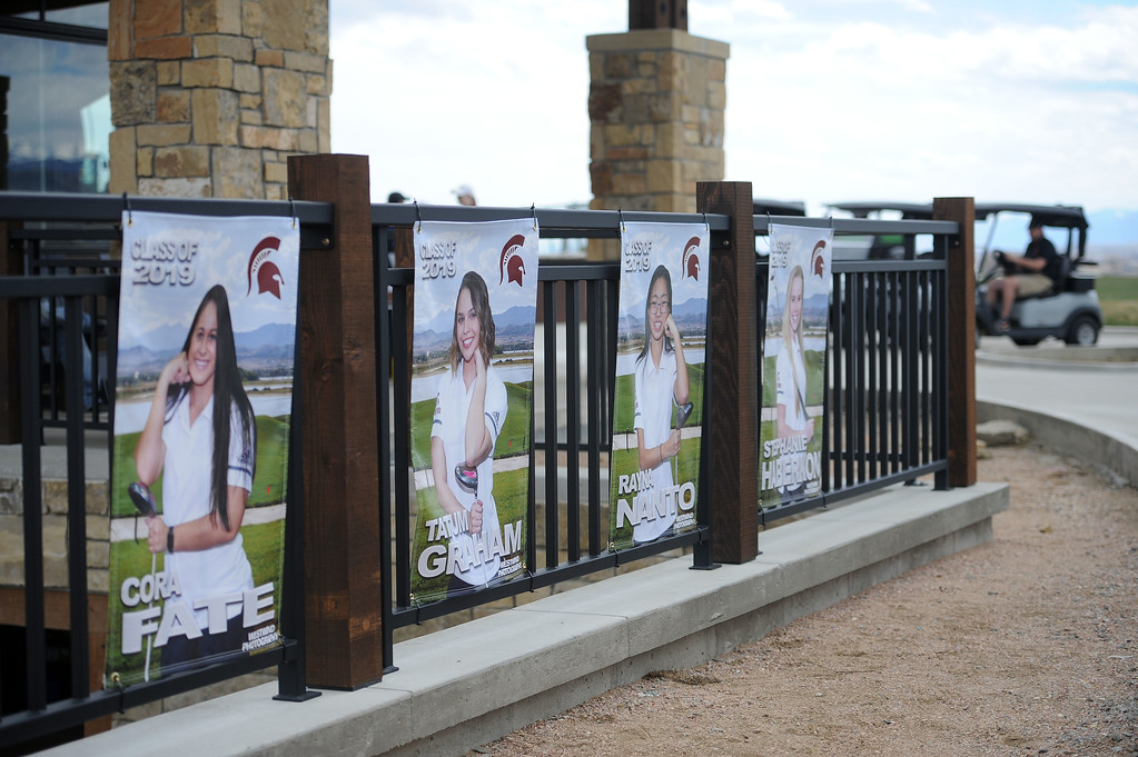 . Berthoud\'s seniors are represented outside the clubhouse at TPC Colorado, the school\'s home course. (Colin Barnard/Loveland Reporter-Herald)