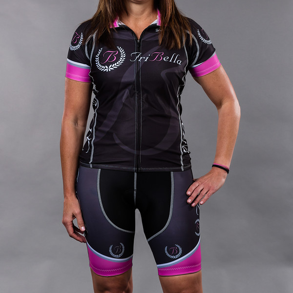 TriBellas-Sugoi-BlackCyclingKit-Front
