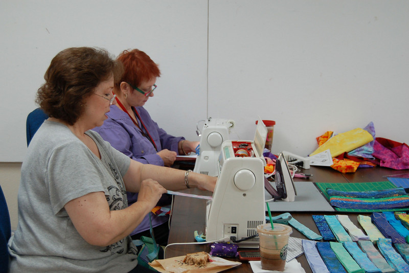 Diane Anderson and Charmaine Fritchey stitching away