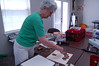 And here's Bankie our current guild pres.<br /> Do you recognize the quilt block she's working on??
