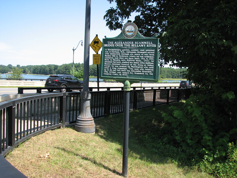 This historical marker is at the bridge named in Scammell's honor. It crosses the Bellamy River on Rt 4, connecting the towns of Durham and Dover, NH. Scammell is considered an adopted son of Durham.