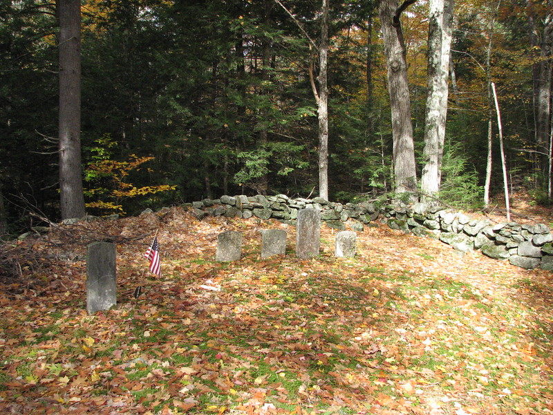 Setting of the grave, seen at the left, looking toward the back right corner of the cemetery