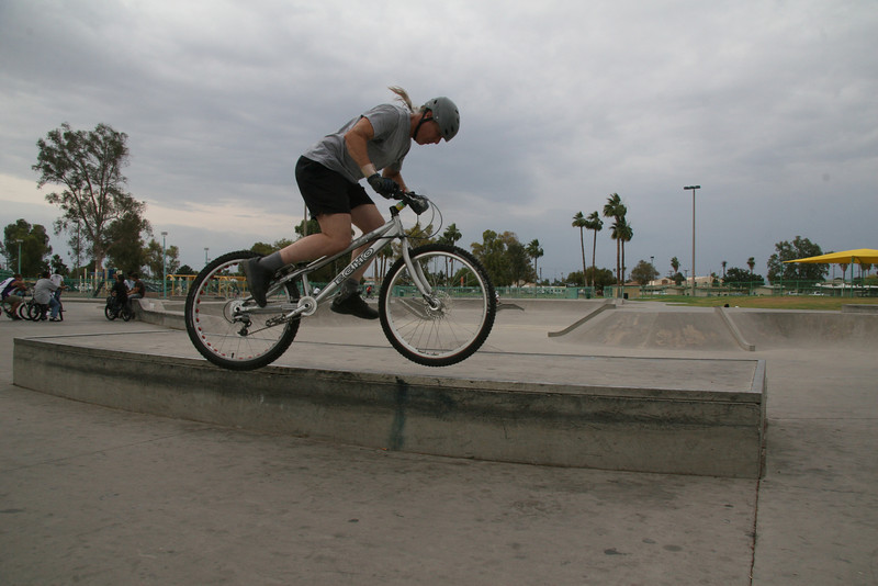 Last skill for today is a side up.  This one went bad as both my feet are off the pedals.  As spastic as this looks, I just put my inner foot down and tried again.