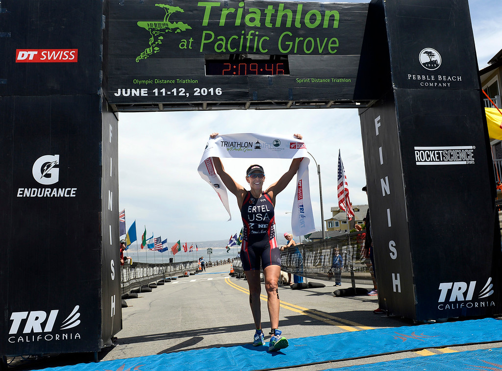 . Julie Ertel of Irvine wins the women\'s Elite Race during the Triathlon at Pacific Grove on Saturday June 11, 2016. (David Royal - Monterey Herald)