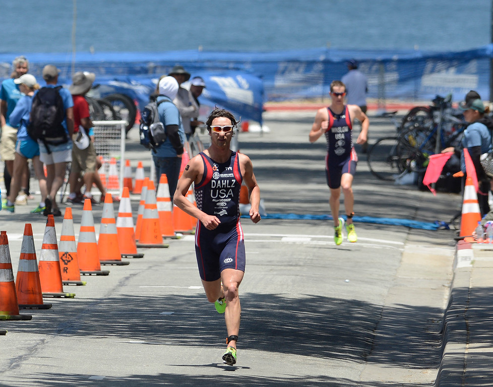 . John Dahlz of daily City starts the run leg during the men\'s Elite Race during the Triathlon at Pacific Grove on Saturday June 11, 2016.  Dahlz finished the race third. (David Royal - Monterey Herald)