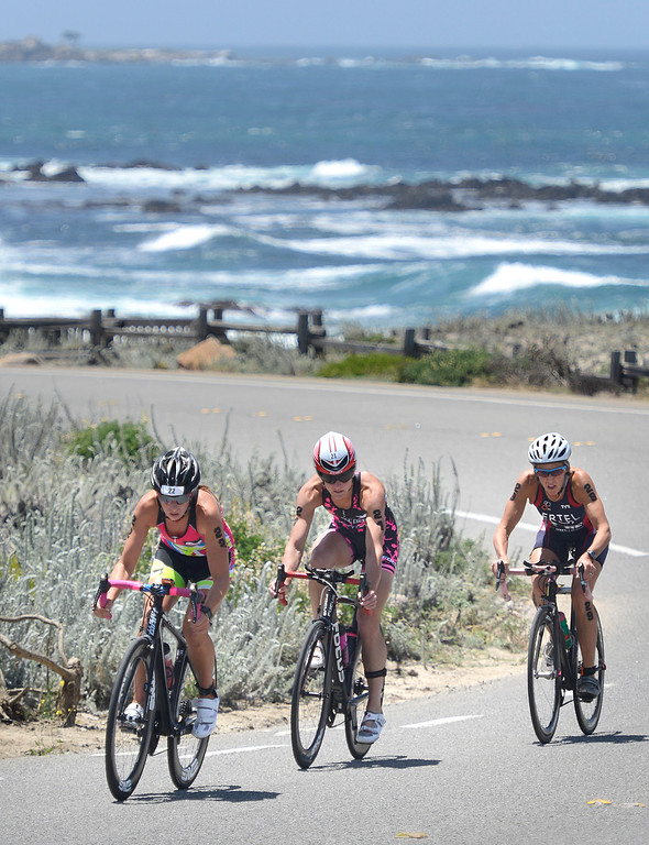 . Kelsey Withrow, left, of Pleasant Hill leads Emily Cox of Napa and Julie Ertel of Irvine during the bike leg of the Triathlon at Pacific Grove at Lovers Point duing the women\'s Elite Race on Saturday June 11, 2016. Ertel won the race, Cox placed second and Withrow finished third. (David Royal - Monterey Herald)