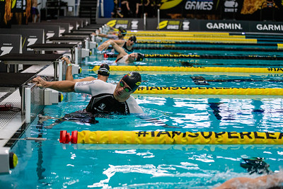 ROTTERDAM, THE NETHERLANDS - APRIL 18, 2021: During the Paratriathlon of Superleague Arena Games at the Zwemcentrum Swimming Centre, Rotterdam, Netherlands.