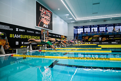 ROTTERDAM, THE NETHERLANDS - APRIL 18, 2021: During the Womens Triathlon of Superleague Arena Games at the Swimming Centre, Rotterdam, Netherlands.