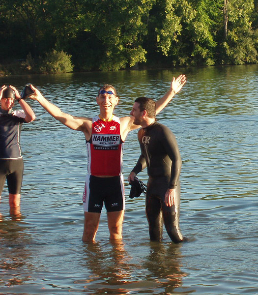 Mike Muha in the Hammer Nutrition tri-suit; Yvon Dufour in the wet suit.