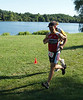 """Mike sprinting to the finish. Says Ryan, """"Knees up! Don't land on your heal!"""""""