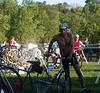 Greg Worrel grabs his bike and is off!