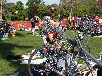 ...and duck under the bike rack for a faster transition.