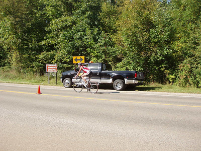 One of the several 180-degree turnarounds on the bike course.
