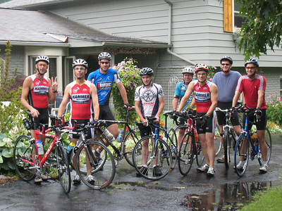 The crew poses for a shot just before heading out for the bike portion. It was still raining.