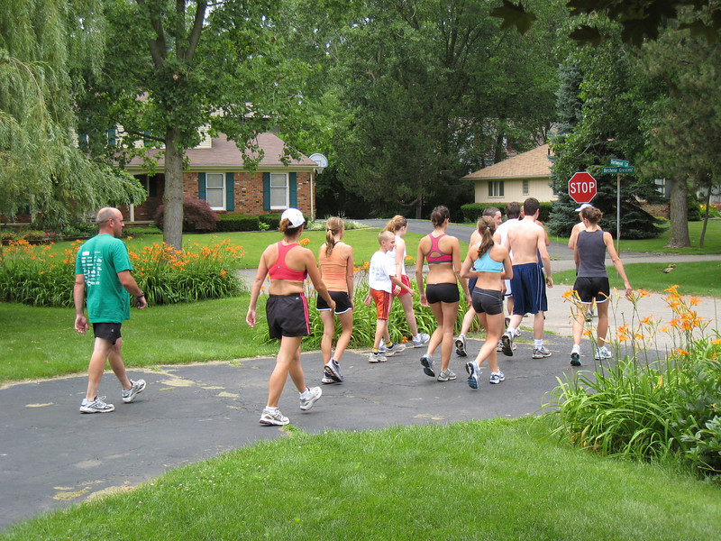Out go the runners. 13.1 miles to go!