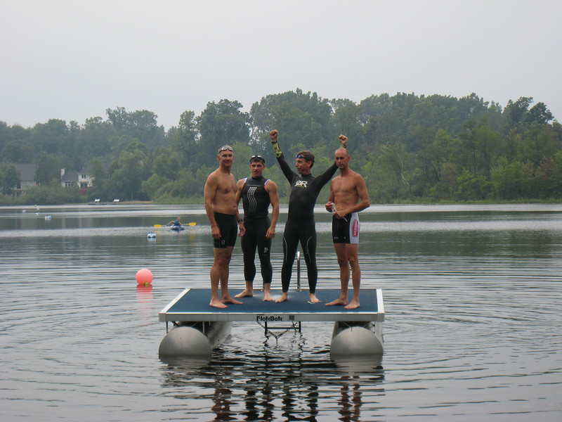 The conditions were perfect as our four contenders ready themselves for the 1.2 mile swim.
