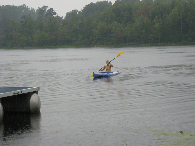 Michelle was just as wet as the swimmers thanks to all the rain. We're pretty sure she had to bale out her kayak at least once.