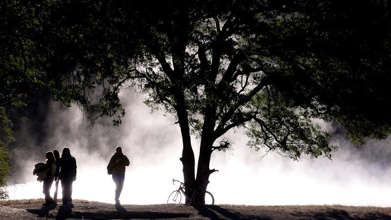 Pre-race fog on the lake.