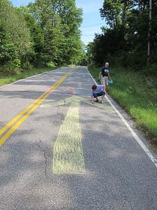 Chalk team hard at work. This way up!