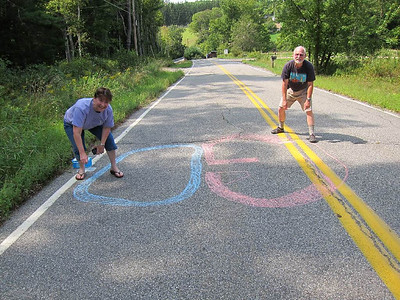 The only chalk on the whole route.  It was inspiring.