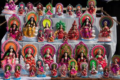 Lakshmi idols - clay/hand painted - street vendor.