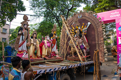 Main statues of the Gods to be thrown into the river after the Durga Puja.