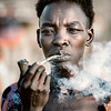 Smoking tribes woman of the Boya
