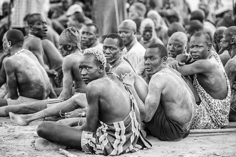 Wrestlers of the Mundari tribe