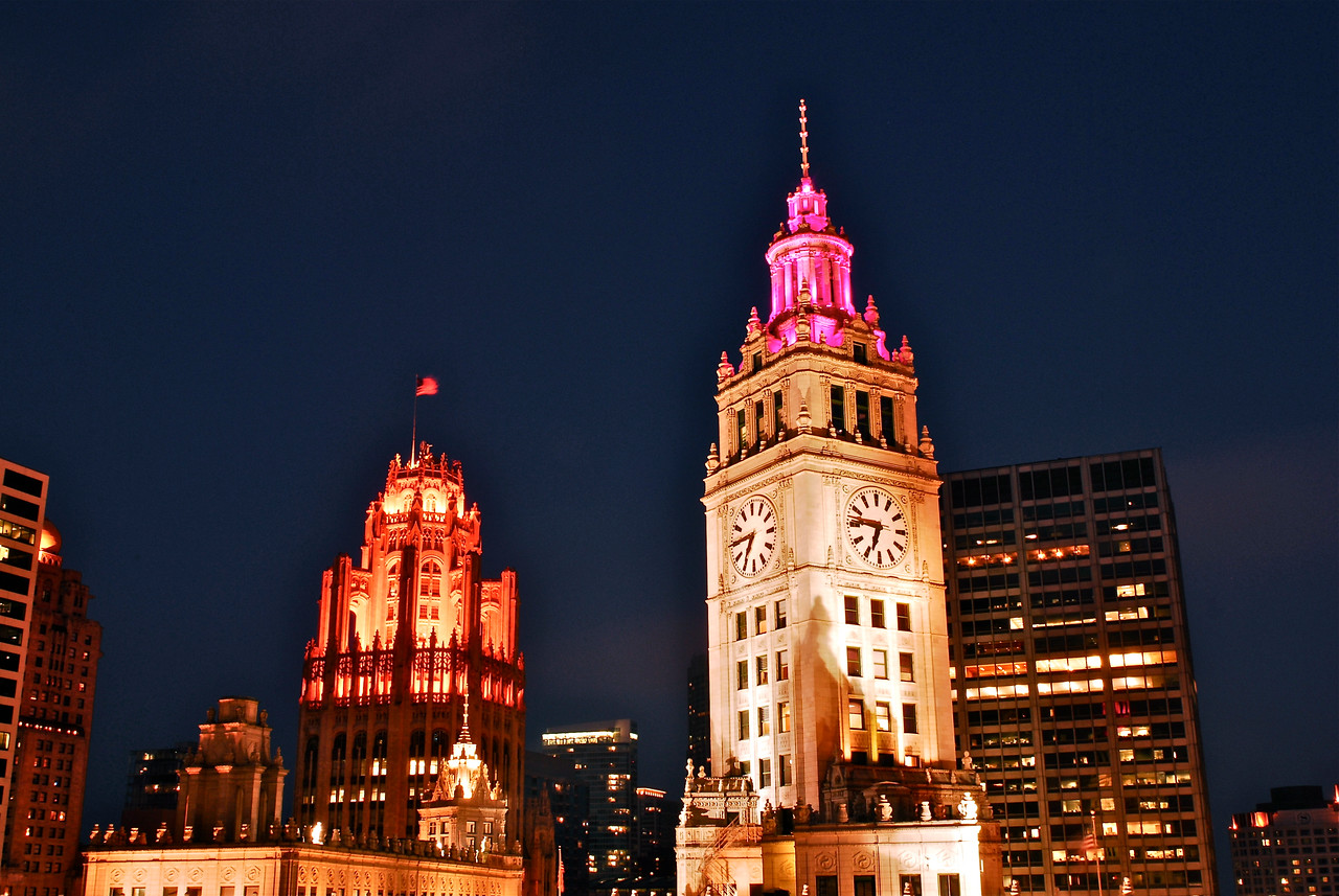 Trib Tower & Wrigley Tower at Blue Hour (Closer) - Take 2