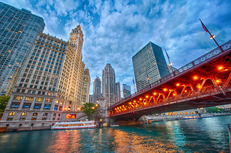 North Michigan Avenue from the Riverwalk at Dusk - Summer