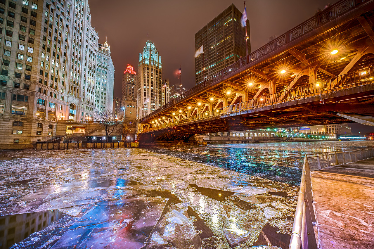 North Michigan Avenue from the Riverwalk on a Winter Night